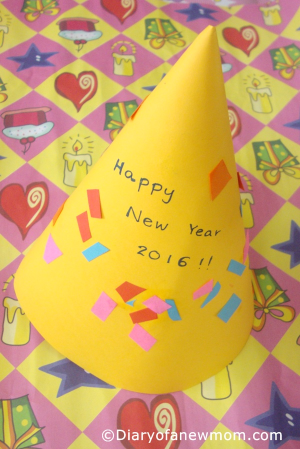 DIY New Year Party Hat for toddlers