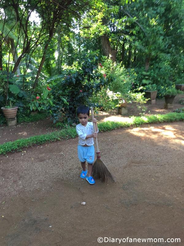 sweeping the garden-Sri Lanka