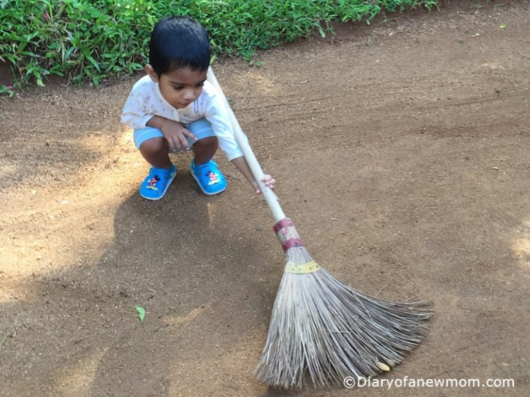 sweeping the garden-Sri Lanka