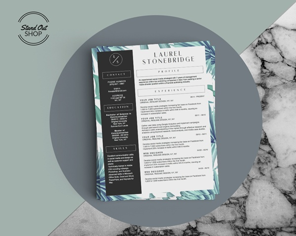 Stand Out Shop  Beautiful Resume Designs