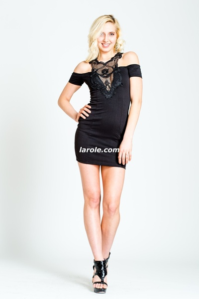 Off Shoulder Peekaboo Little Black Dress from Larole