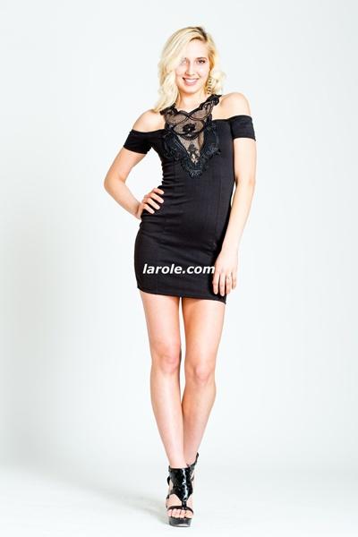 Off Shoulder Peekaboo Little Black Dress from Larole