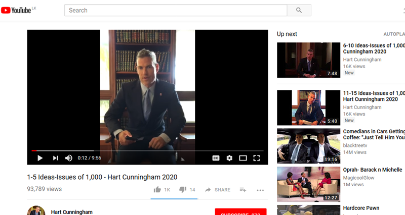 Presidential Candidate, Hart Cunningham